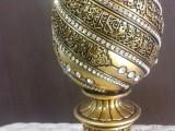 Ayetel kürsi altın renk kozalak polyester swarovski taş işlemeli biblo